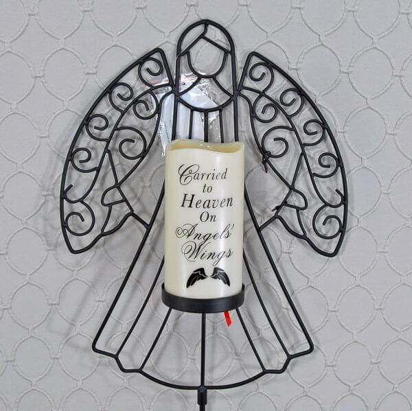 Memorial Candle with Angel Silhouette