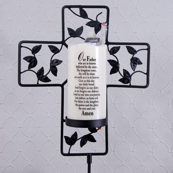 Lord's Prayer Memorial Candle and Cross