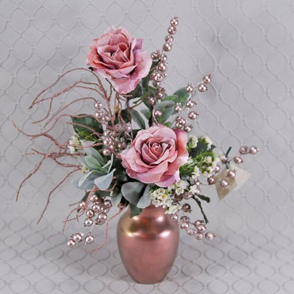 Roses and Champagne Berries silk arrangement