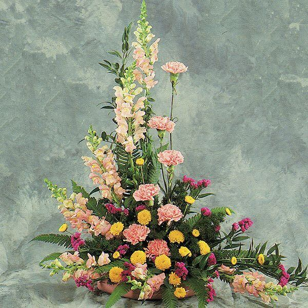 Pink and Yellow Sympathy Arrangement