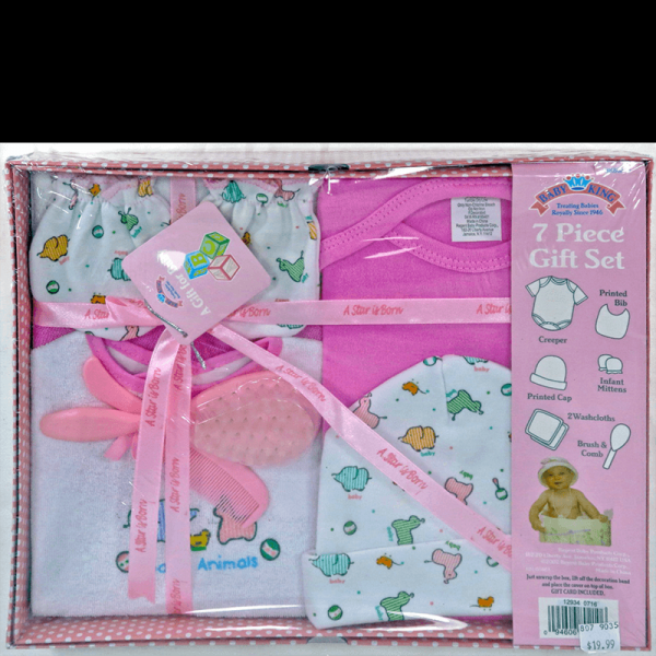 Baby King 7 Piece gift set in pink