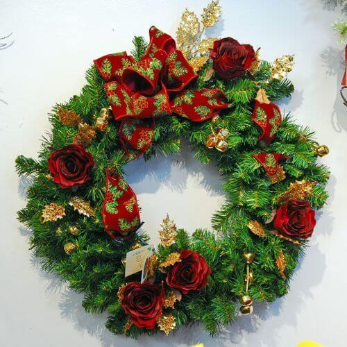 Jingle Bells Red and Gold Wreath