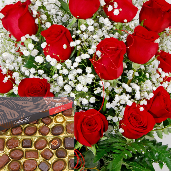 Deluxe Dozen Roses with Big Box of Chocolates