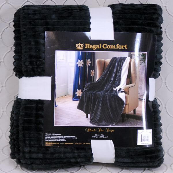 Regal Comfort Black Pinstripe Throw