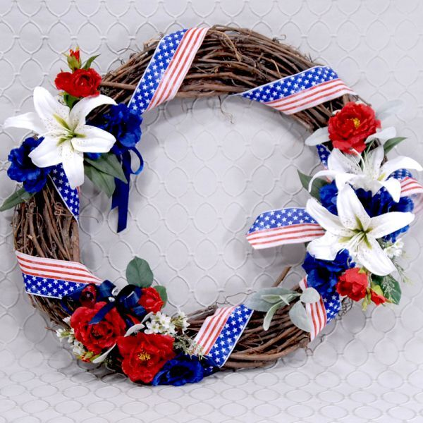 Wreath Artificial Red, White & Blue