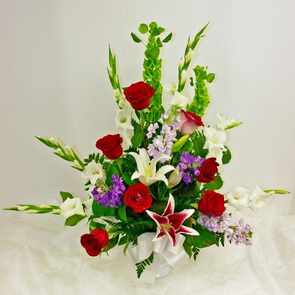 Red, White and Purple Sympathy Arrangement