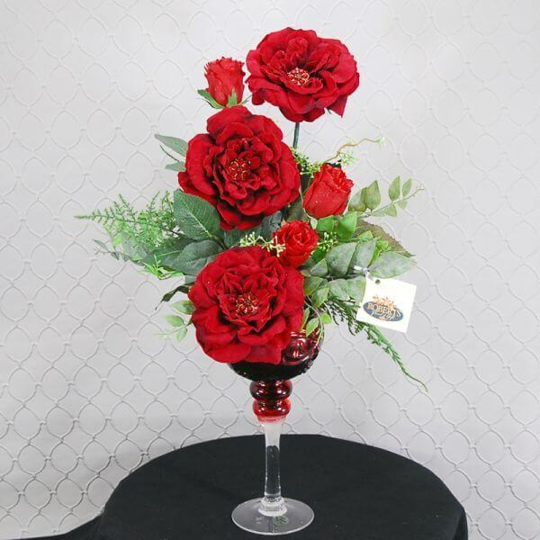 Red Goblet with Jeweled Roses Silk Bouquet