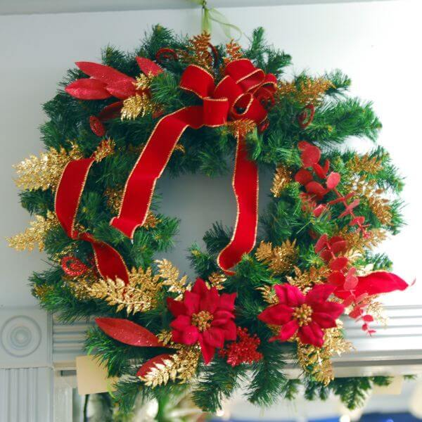 Red Poinsettia and Gold Trim Wreath