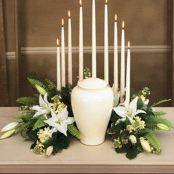 White Lily Urn Arrangement