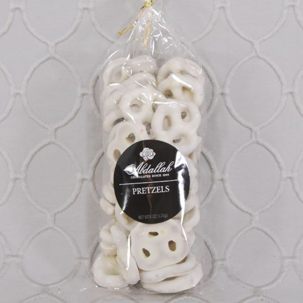 Pretzels, white chocolate