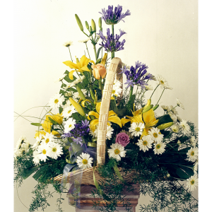 Gardeny Fireside Basket Sympathy Arrangement