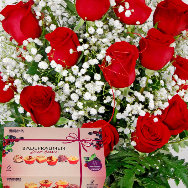 Deluxe Dozen Roses with Box of Bath Melts or Bath Bombs