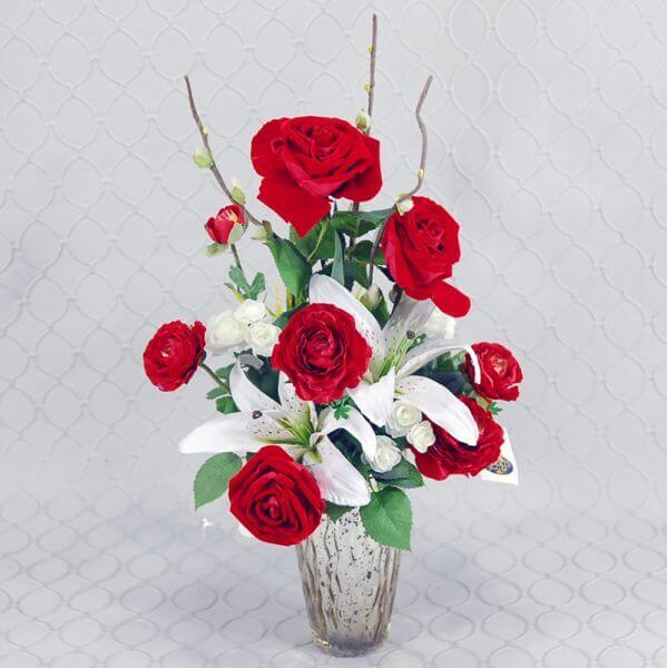Red and White Silk Arrangement